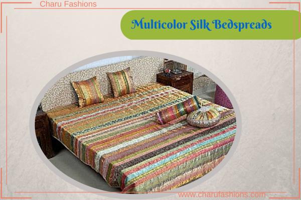 Multicolor Silk Bedspreads - Charu Fashions