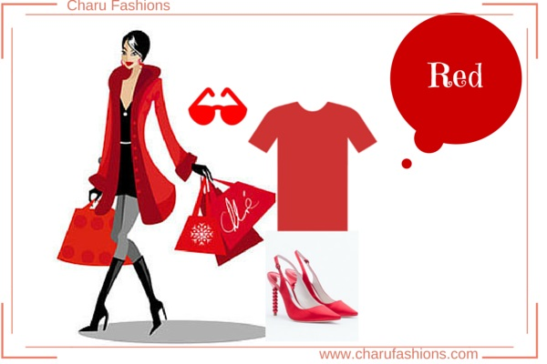 Red Color  Women Clothing