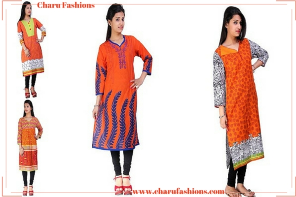 Orange Kurtis Charu Fashions