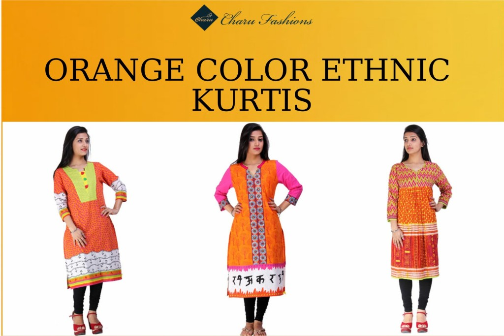 Orange Color Kurtis | Charu Fashions