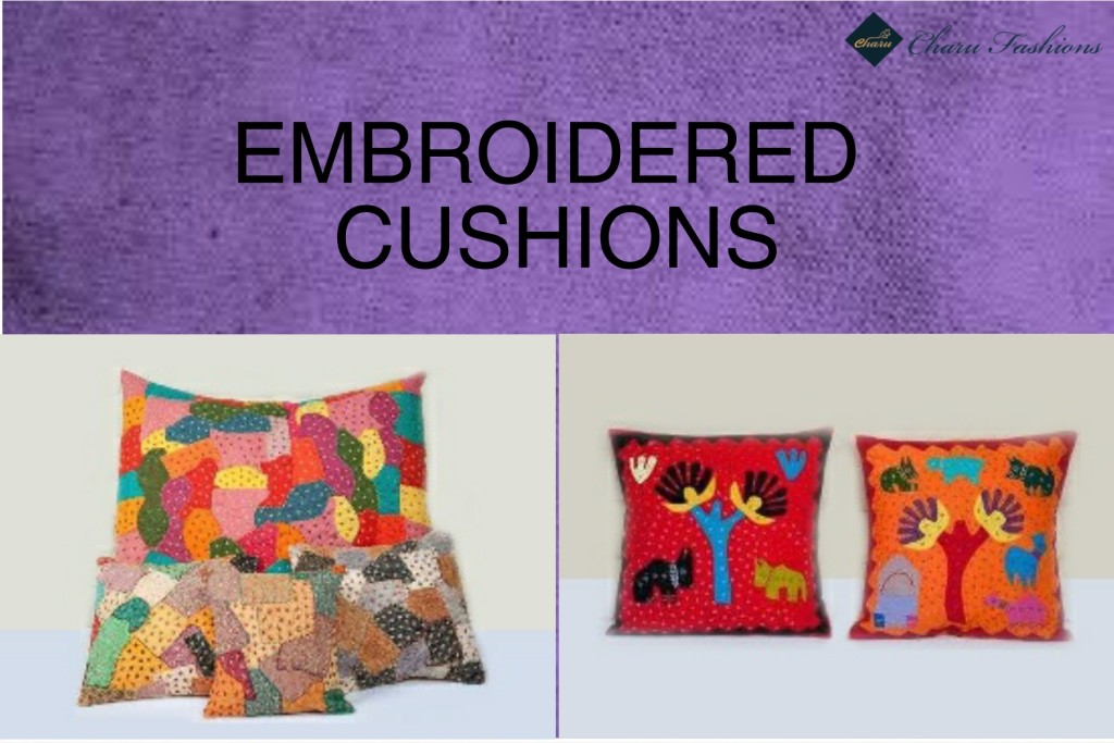 Embroidered cushions | Charu Fashions