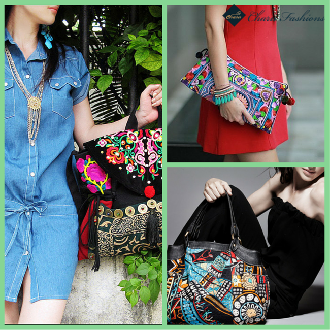 Dresses With Multicolor Handbag | Charu fashions