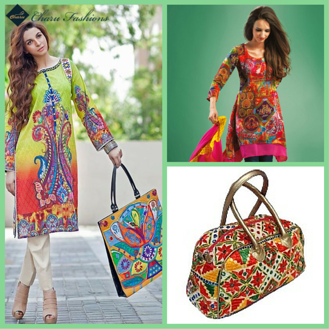 Kurti With Multicolor Handbags | Charu fashions