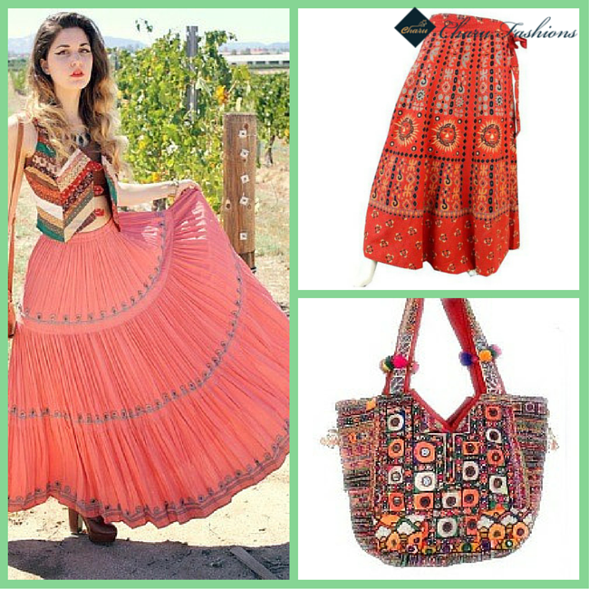 Skirt with Multicolor Handbag | Charu fashions