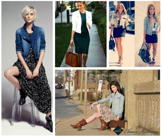 Denim Jacket with Stylish Dresses