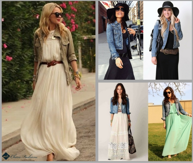 Denim Jacket with Maxi Dresses