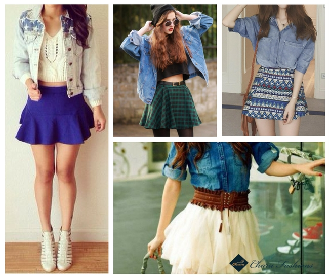 Denim Jacket with Short Skirts