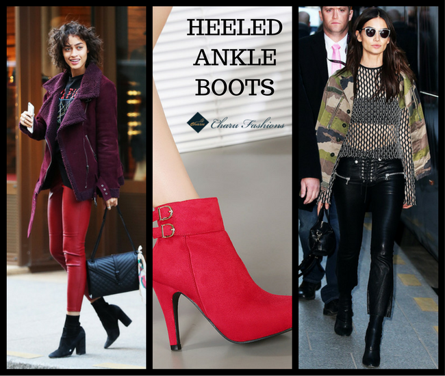 Heeled Ankle Boots-CharuFashions