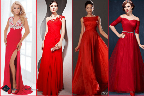 Red Evening Gown | Charufashions