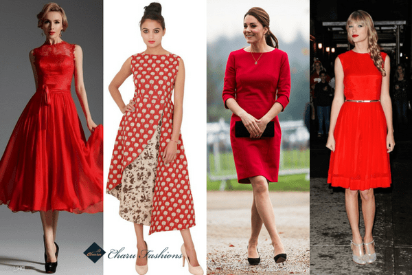Red Tea-Length Dress | Charufashions