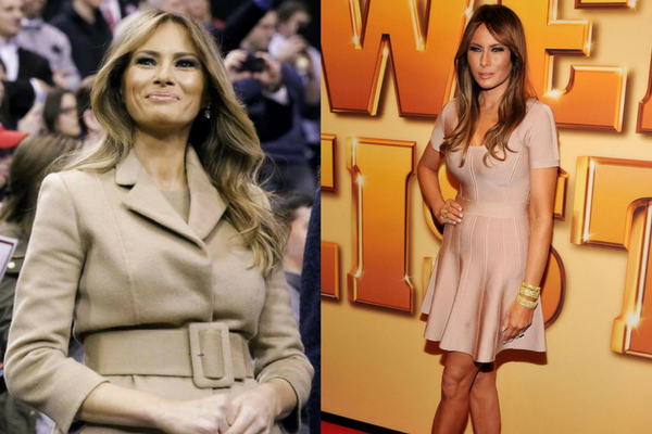 Melania Trump in Beige Dress