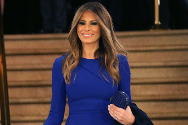 Melania Trump in blue Dress