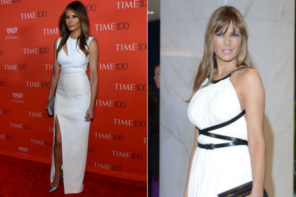 Melania Trump in white Dress
