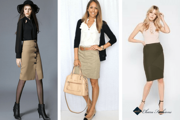 Khaki Pencil skirts | CharuFashions