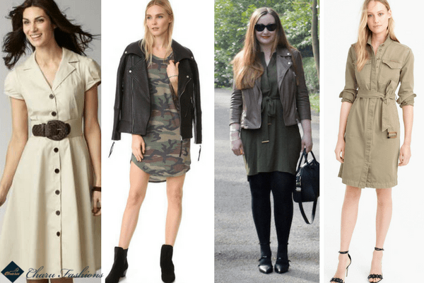 Khaki shirtdress | CharuFashions