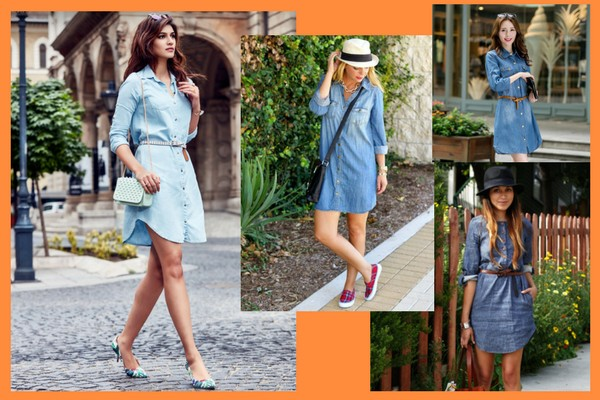 Denim Style Shirt Dress- Charu Fashions