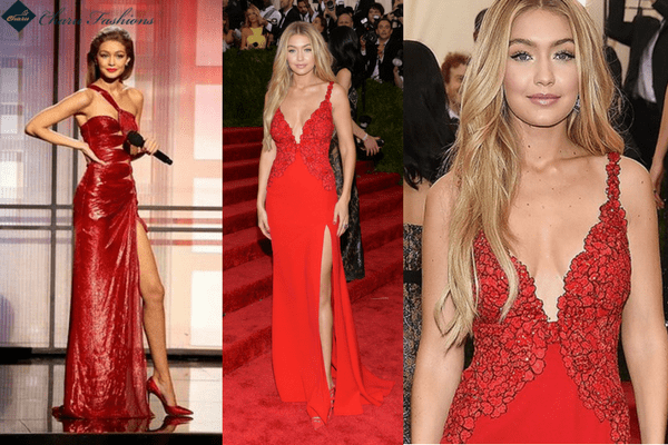 Gigi Hadid in Red Ball Dress | Charufashions