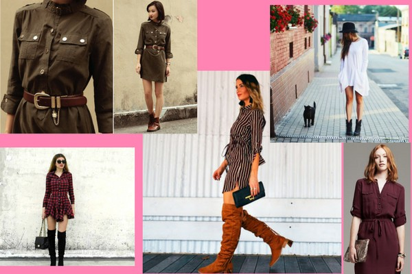 Shirt Dress with Boots And Belt- Charu Fashions