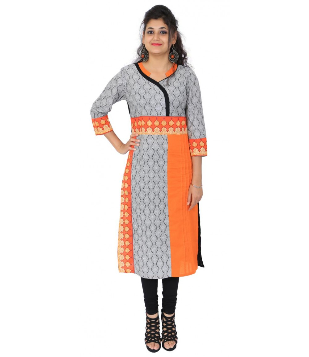 Printed Grey Orange Cotton Women's Kurti