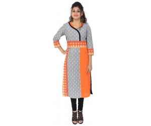 Printed Grey Orange Cotton Women's Kurti