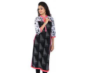Casual Printed Black Women's Kurti