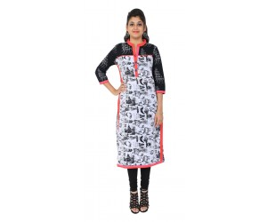 Casual Printed White Women's Kurti