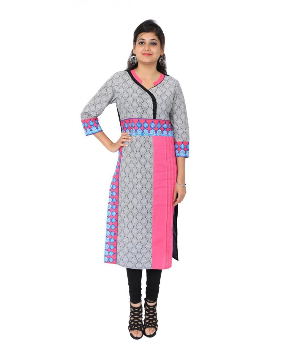 Printed Grey Pink Cotton Women's Kurti