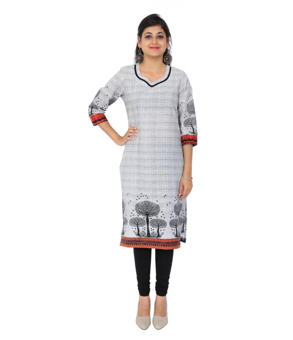 Casual White Cotton Women's Kurti