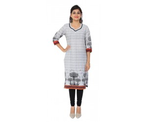 Casual White Cotton Women's Kurti