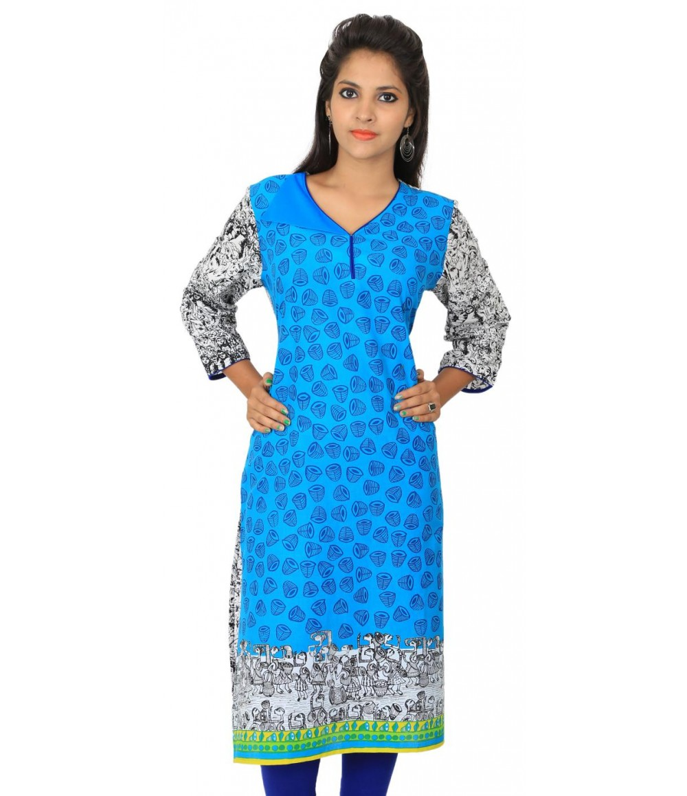 Digital Printed Blue Women's Kurti