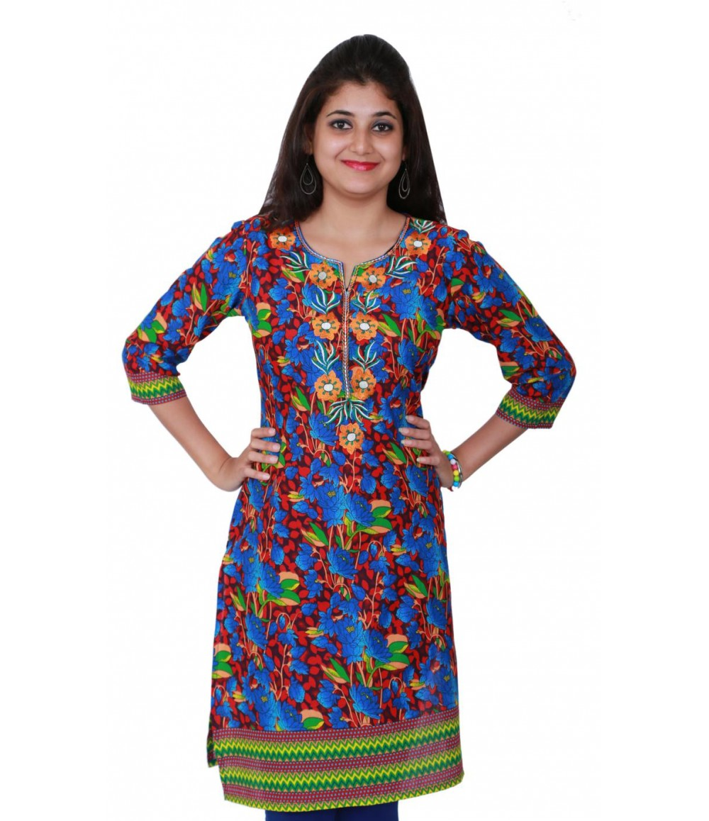 Multicolor Cotton Printed Sweetheart Neck Kurti