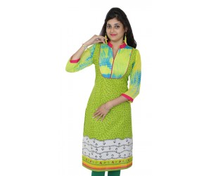 Casual Printed Green Women Kurti