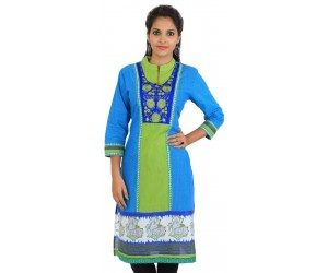 Blue Green Embroidered Women Kurti