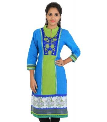 Blue Green Embroidered Women Kurti
