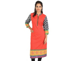 Red Cotton Printed Chinese Collar Women's Kurti