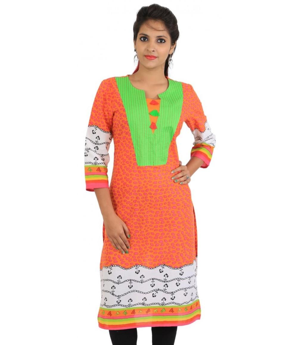 Orange Cotton Printed Round Neck Women Kurti