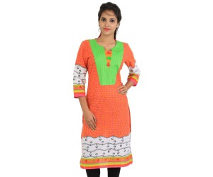 Orange Cotton Printed Round Neck Women Kurti