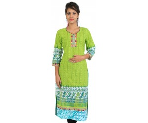 Green Cotton Mirror Work Women Kurti