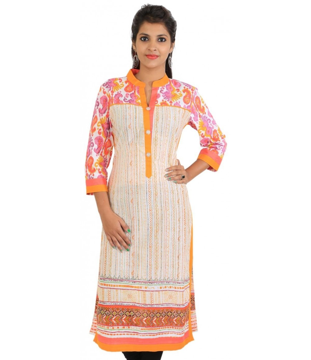 Off-White Orange Printed Cotton Women Kurti