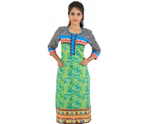 Digital Printed Green Women's Kurti