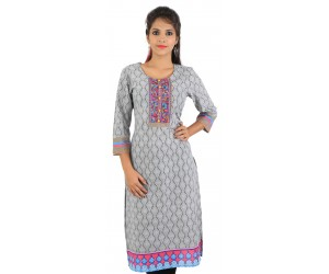 Digital Printed Grey Women's Kurti
