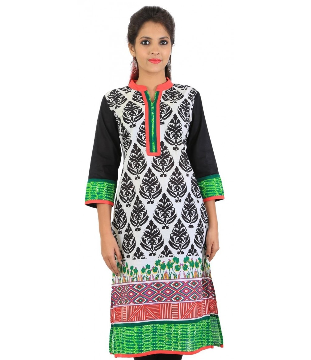 Printed White Cotton Women's Kurti