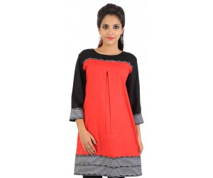 Solid Red Cotton Women's Kurti