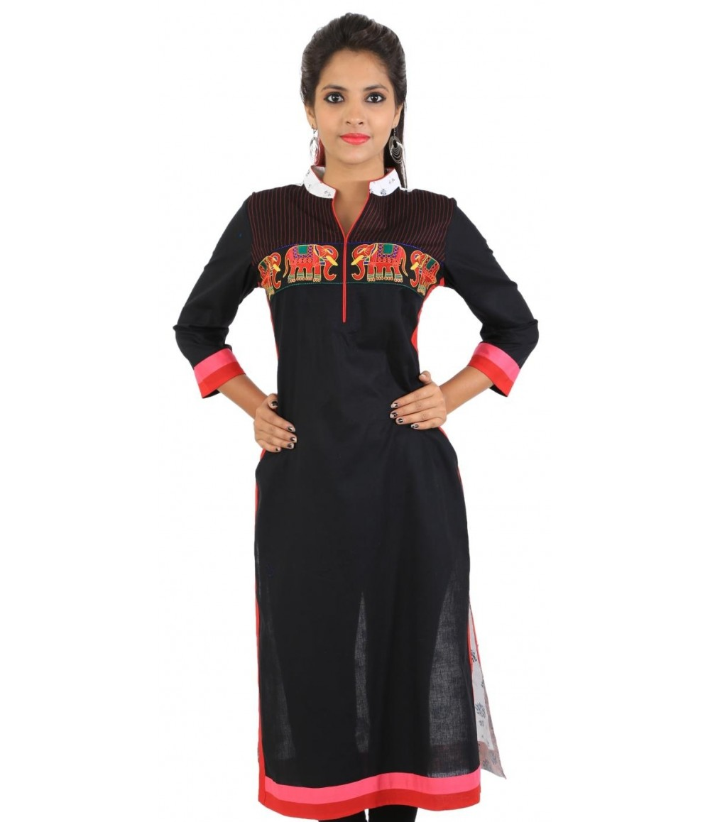 Embroidered Black Women's Kurti