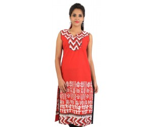 Printed Red Cotton Women's Kurti
