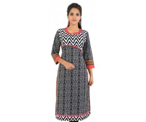 Casual Zig Zag Printed Black Women's Kurti