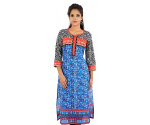 Blue Graphic Printed Women's Kurti