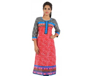 Red Digital Printed Women's Kurti