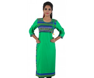 Solid Green Round Neck Women's Kurti