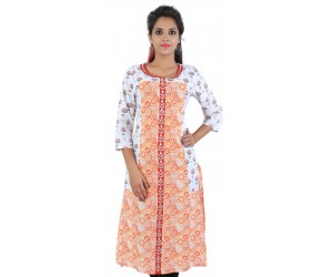 Casual Floral Print White Cotton Kurti